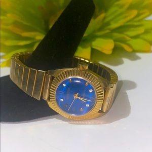 Geneva • Antimagnetic • gold & Blue stretch watch